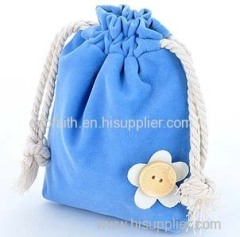 velvet gift bag with flower decoration