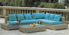 New designs rattan corner sofa set furniture with cushion and pillows