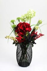 Tall Cylindrical Metal Art Flower Vase black color
