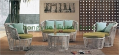Living room rattan sofa sets furniture with cushion pillows