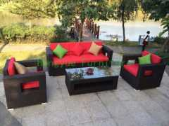 Outdoor patio brown rattan furniture sets with pillow cushions