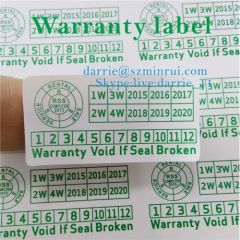 China largest destructible vinyl paper manufacturer Wholesale green rectangle 2cmX4cm tamper evident warranty sticker