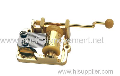 Golde Colour Hand Crank Operated Music Box Mechanism