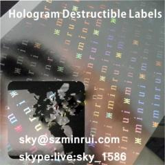 holographic destructive vinyl/warranty void hologram sticker/security hologram