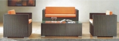 Brown rattan sofa set wicker living room sofa furniture sets with cushion