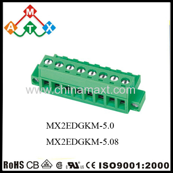 5 0mm PCB Pluggable Terminal Blocks 300V 15A two screw fixed Plug in