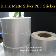 Factory Wholesale Silver Waterproof Removable Adhesive Sticker Blank Matt Silver PET Vinyl Stickers In Rolls