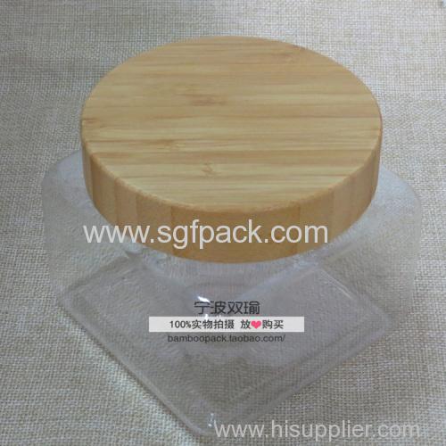 500ml pet square jar with 89/400 bamboo cap 500g round pet jar with bamboo cap