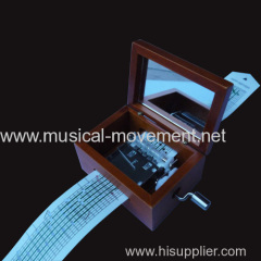WOODEN PAPER STRIP HAND CRANK MUSIC BOX