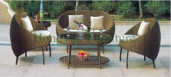 Wicker sofa furniture for outdoor rattan sofa set with cushions