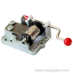 Hand Cranked Music Box Mechanism Red Plastic Ball Knob