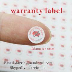 China largest self-adhesive destructible label manufacturer custom round 8mm diameter warranty screw label for phone