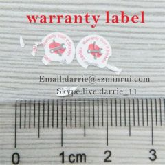 China best self-adhesive destructible label manufacturer supply round 8mm diameter warranty screw label for phone