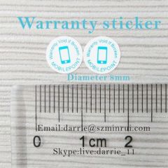 China largest self-adhesive destructible label manufacturer custom round 8mm diameter warranty screw label for mobile