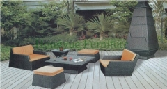 Outdoor patio wicker furniture rattan sofa set with cushions