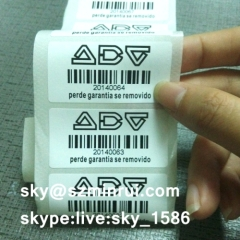 Self Adhesive Destructible Asset Labels Barcode Stickers Printing Company Logos ID for Security