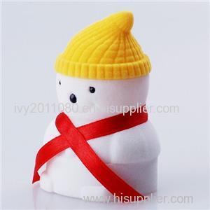 Christmas Snowman Velvet Ring Box