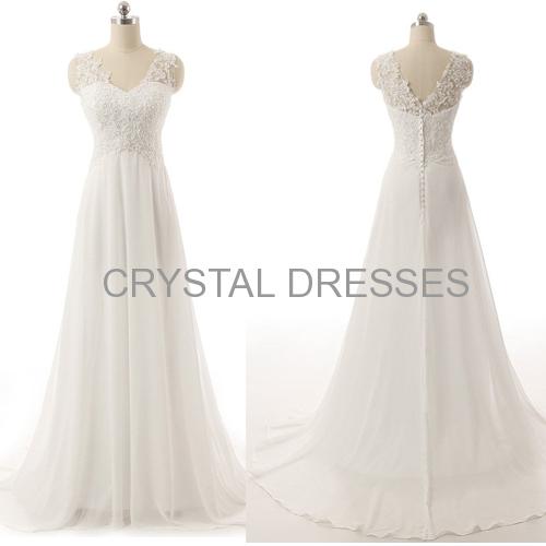 ALBIZIA Ivory Beading V-neck Applique A-line Lace Chiffon Long Beach Wedding Dresses