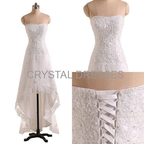 ALBIZIA White Lace Hi-Lo Ball Gown Tulle Bridal Sheath Wedding Dresses for Bride 2015 Christmas