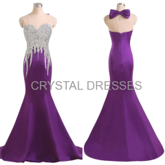 ALBIZIA Beading Purple Sweetheart Satin Mermaid Long Prom Evening Dresses