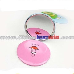 Round Shape Cartoon Printed Compact Pocket Mirror