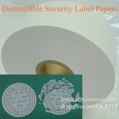 Retail Destructible Vinyl Label Eggshell Paper Anti-counterfeiting Adhesive Destructible Vinyl Fragile Security Paper