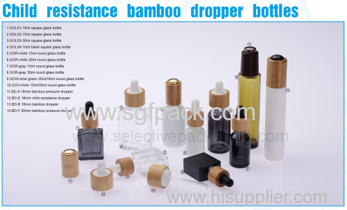 15ml30ml100mlBamboo cap with white color essential oil bottle round standard oil bottle