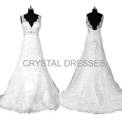 ALBIZIA 2015 Latest Design V-neck Lace Appliqued Mermaid Wedding Dresses