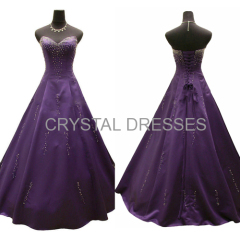 ALBIZIA New Style 2015 Purple Satin Floor Length A-Line Color Wedding Gowns With Crystal Beads