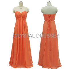 ALBIZIA Orange Sweetheart Chiffon A Line Bridesmaid dress backless special occasions prom dresses