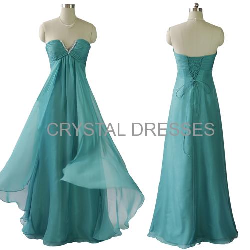 ALBIZIA New Fashion Sweetheart Beading and Pearls Sheath 2015 A-Line Chiffon Prom Dresses