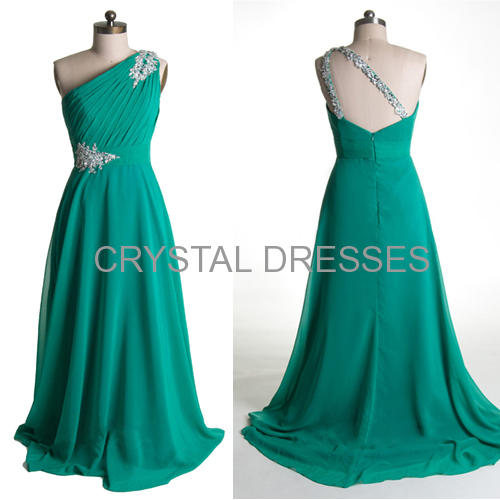 ALBIZIA Pretty Teal One Shoulder Crystals A-Line Beaded Long Chiffon Bridesmaid Prom Dress