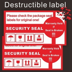 Custom Fragile Label Printing Easy Broken Eggshell Sticker Security Self Adhesive Vinyl Destructible Label