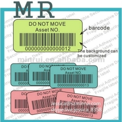 High Quality Anti-counterfeit Fragile Paper Barcode Label Do Not Remove Sticker Barcode Asset ID Labels