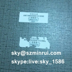 self destructive security sticker/destructive stickers/custom frangible paper security seals
