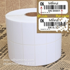 Custom Blank Label Sticker For Serial Number Destructive Paper Label Adhesive Barcode Blank Sticker Paper Roll