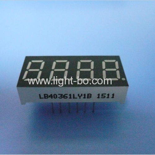 Super bright amber 9.2mm(0.36 ) 4 digit 7 segment led display common cathode for digital indicator