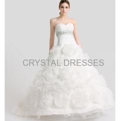 ALBIZIA 2016 Ivory Organza Sweetheart Strapless Crystal Sash Court Wedding Dresses