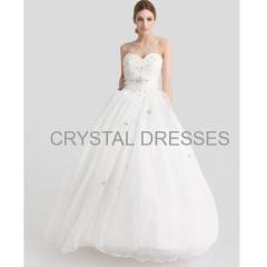 ALBIZIA High Quality Beading Sweetheart Applique A-line Organza Floor length Wedding Dresses