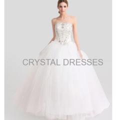 ALBIZIA Beading Ivory Strapless Tulle A Line Floor length Bridal Wedding Dresses