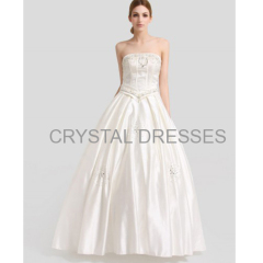 ALBIZIA Beading Ivory Strapless Crystal A-line Satin Long Wedding Dresses