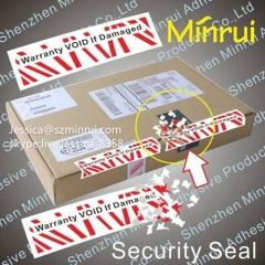 High Quality Custom Printed Rectangle Tamper Evident Warranty Labels Breakable Warranty Void If Removed Stickers