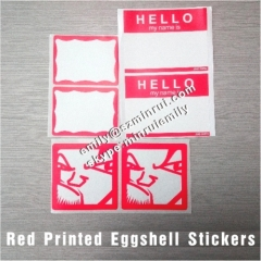 Custom Blanks Red Border Printed Graffiti Eggshell Stickers from China Red Printed Destructible Vinyl Eggshell Stickers