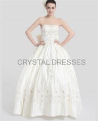 ALBIZIA Retro Beading Ivory Satin Sweetheart Strapless Floor Length Appliques Wedding Dresses