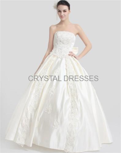 ALBIZIA New Beaded Ivory Satin Strapless Floor Length Appliques Ball Gown Wedding Dresses