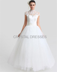 Ivory Tulle High Collar Floor Length Appliques Ball Gown Dresses