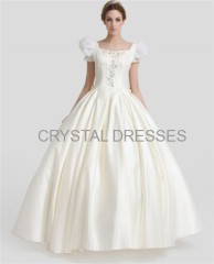 Ivory square puff appliques beading ruffle bows floor length ball gown dresses