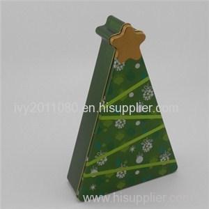 Christmas Tree Shaped Tin Box