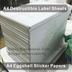 A4 Destructive Vinyl Label Paper Sheets A4 Eggshell Sticker Papers For Silkscreen Printing Use