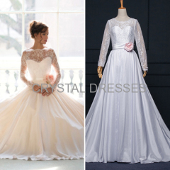 ALBIZIA Vintage White Scoop Lace Satin A Line Wedding Dresses with Handmade Flower